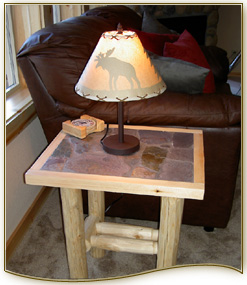 Slate Top Log End Table